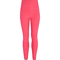 Girls pink aztec textured leggings