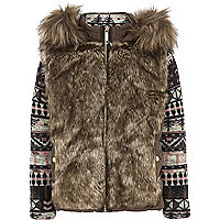 Girls brown faux fur jacquard sleeve jacket