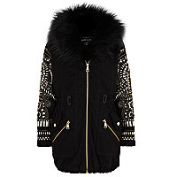 Girls black embellished sleeve parka jacket