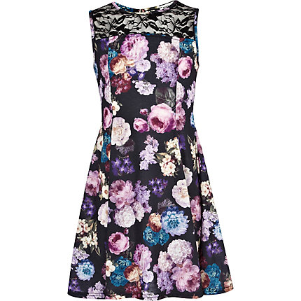 Girls purple floral fit and flare dress