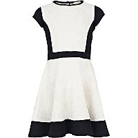 Girls white embossed scuba skater dress