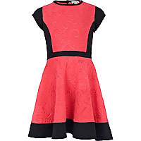 Girls pink embossed scuba skater dress