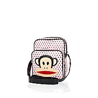 Girls pink polka dot Paul Frank record bag