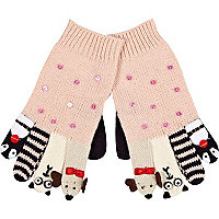 Girls pink people gloves