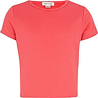 Girls coral textured cropped top