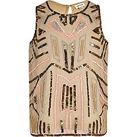 Girls cream aztec sequin vest top