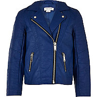 Girls blue leather look jacket