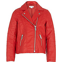 Girls red leather look jacket