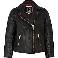 Girls black leather biker jacket