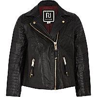 Girls black leather biker jacket