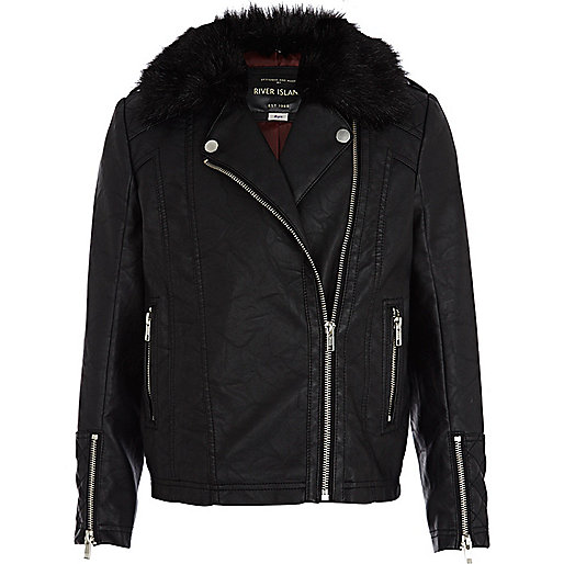 Girls black leather look fur collar jacket