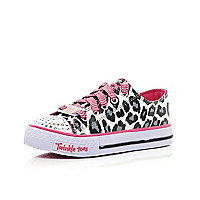 Girls leopard light up Skechers trainers