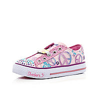 Girls pink peace light up Skechers trainers