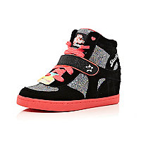 Girls black Skechers high top wedge trainers