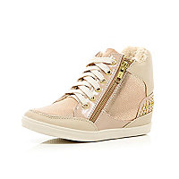 Girls pink metallic studded trainer wedges