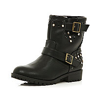 Girls black embellished biker boots