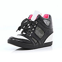 Girls black and white high top wedge trainers