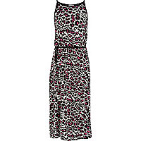 Girls black animal print maxi dress