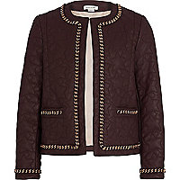 Girls dark red quilted chain trim jacket