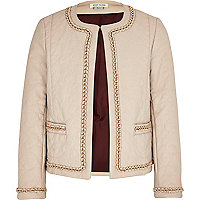 Girls cream quilted chain trim jacket