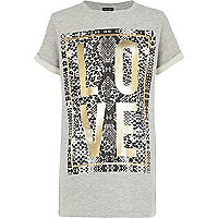 Girls grey foil print love sweat t-shirt