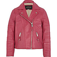 Girls pink leather jacket