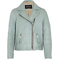 Girls light blue leather jacket