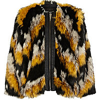 Girls black chevron faux fur coat