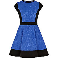 Girls blue embossed scuba skater dress