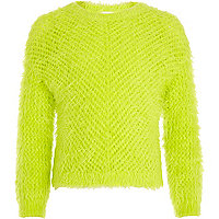 Girls neon green fluffy jumper