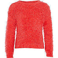 Girls coral fluffy jumper