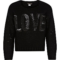 Girls black sequin love cropped jumper