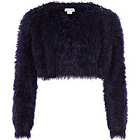 Girls navy fluffy embellished shrug