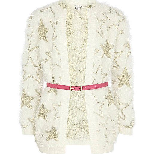 Girls cream star knit fluffy caridgan