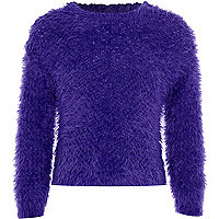 Girls blue fluffy jumper