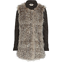 Girls beige faux fur jacket