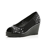 Girls black heatseal studded wedges