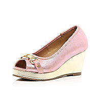 Girls pink metallic peep toe wedges