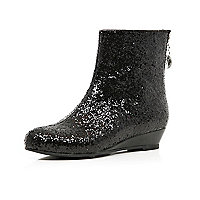 Girls black glitter ankle boots