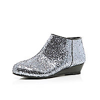 Girls silver glitter wedge ankle boots
