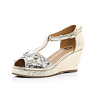 Girls gold metallic gem studded wedges