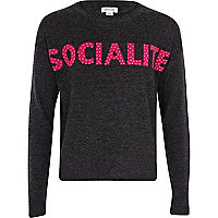 Girls grey marl studded socialite jumper