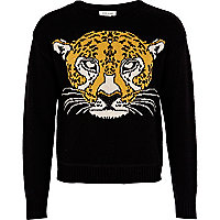 Girls black tiger head jumper
