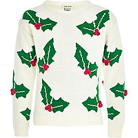 Girls white holly jumper