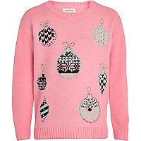 Girls pink embellished baubles jumper