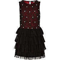 Girls dark red beaded tutu dress