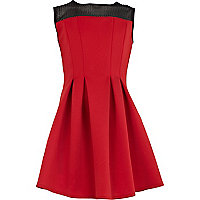 Girls red scuba sleeveless dress