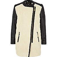 Girls black and cream borg front coat