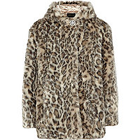 Girls brown animal print faux fur jacket