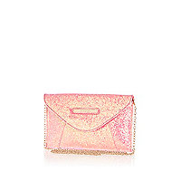 Girls pink glitter clutch bag